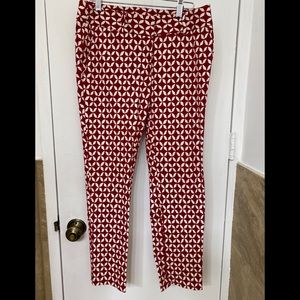 Ann Taylor Loft Red and White Trousers